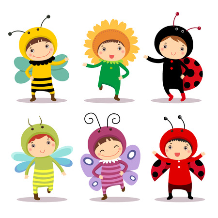 costumes: Illustration of cute kids wearing insect and flower costumes