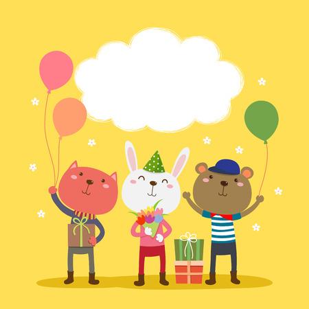 conejo: Ilustración de feliz diseño de la tarjeta de cumpleaños con los animales lindos Vectores