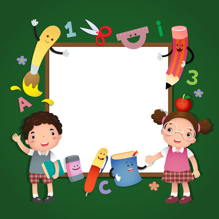 Illustration of back to school. School kids with a sign board Иллюстрация