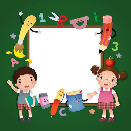 pizarron: Ilustración de volver a la escuela. niños de la escuela con una tarjeta de la muestra