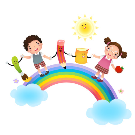 nursery school: Illustration of back to school. School kids over rainbow. Illustration