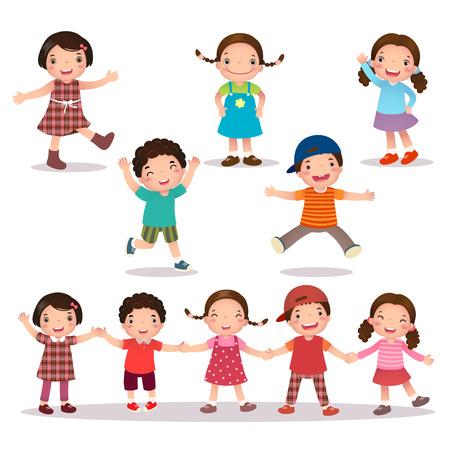 segurar: Ilustração de miúdos felizes desenhos animados que prende as mãos e pulando Ilustração
