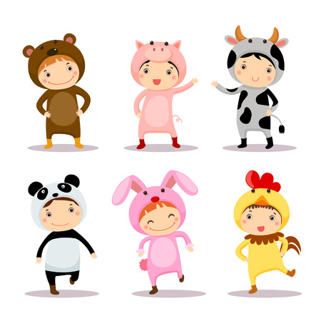 vaca caricatura: Niños lindos vestidos con trajes de animales