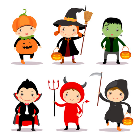 cosplay: Cute kids wearing halloween costumes Illustration