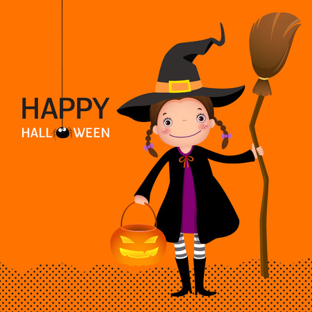 witch on broom: Illustration of halloween witch cute girl with broomstick and pumpkin