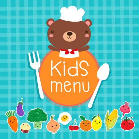Design of kids menu with cute bear chef over blue background
