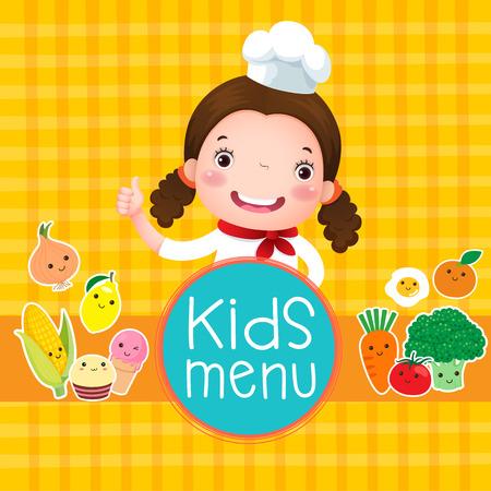 kitchen poster: Design of kids menu with smiling girl chef over orange background