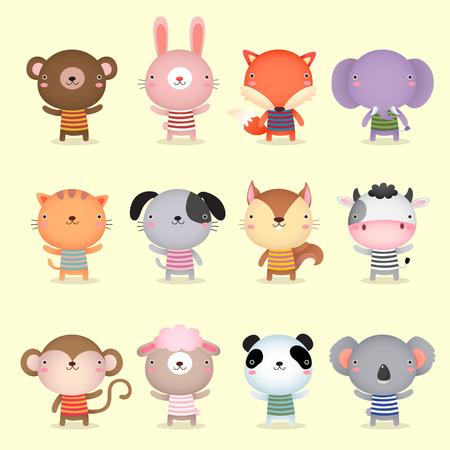 귀여운 동물 컬렉션의 그림 일러스트
