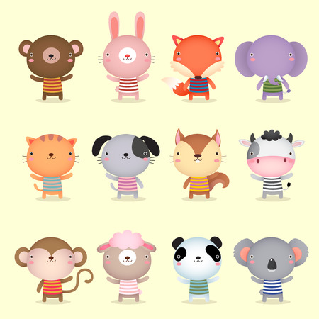 cute cartoon monkey: Illustration of cute animals collections
