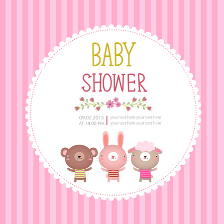 niemowlaki: Ilustracja szablonu karty baby shower zaproszenia na różowym tle