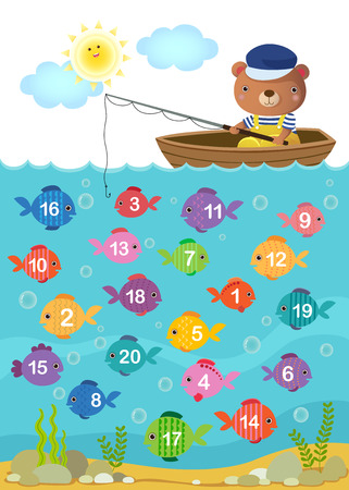 fishing boats: Worksheet for kindergarten kids to learn counting number with cute bear