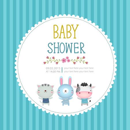 newborn: Illustration of baby shower invitation card template on blue background Illustration
