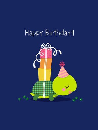 Illustration of happy birthday card with cute turtle on blue background  イラスト・ベクター素材