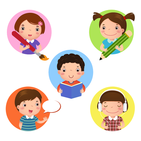 teacher classroom: Illustration set of kids mascot learning. Icon for writing, drawing, reading, speaking and listening