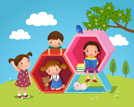 hide and seek: Illustration of kids playing and reading with hexagon shaped in the yard