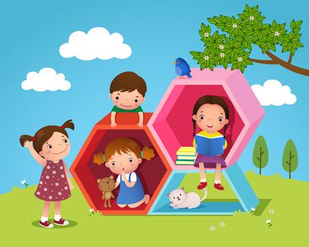 jardin de infantes: Ilustración de niños jugando y leyendo con hexágono forma en el patio Vectores