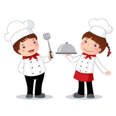 niños cocinando: Ilustración de profesión traje de chef para niños