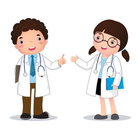 lekarz: Ilustracja zawodu kostium lekarza dla dzieci Ilustracja