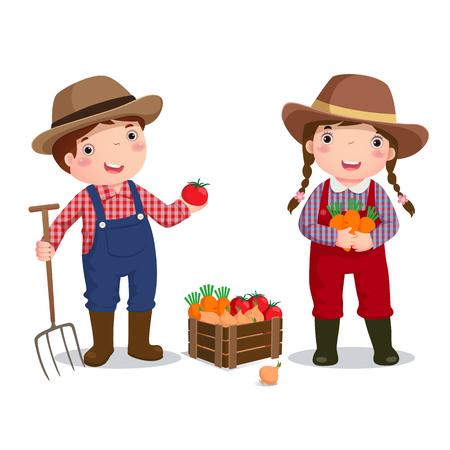 agricultor: Ilustración de la profesión de agricultor traje para los niños