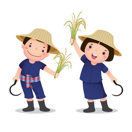 granjero: Profesión traje de campesino tailandés para niños