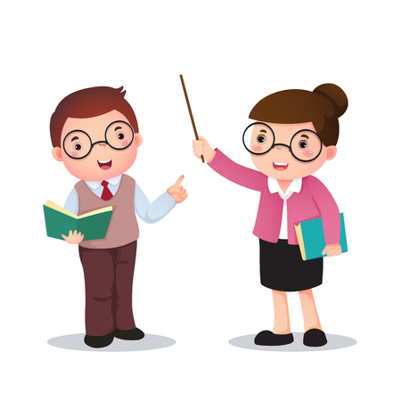 school books: Profession costume of teacher for kids