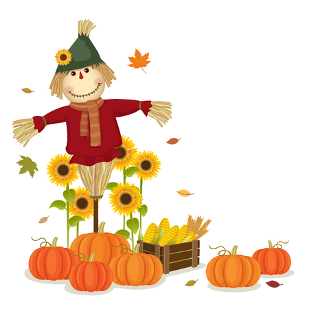 Illustration of autumn harvesting with cute scarecrow and pumpkins Stock fotó - 46691045