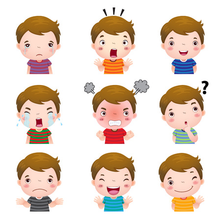 expresiones faciales: Ilustraci�n del muchacho lindo rostros con distintas emociones
