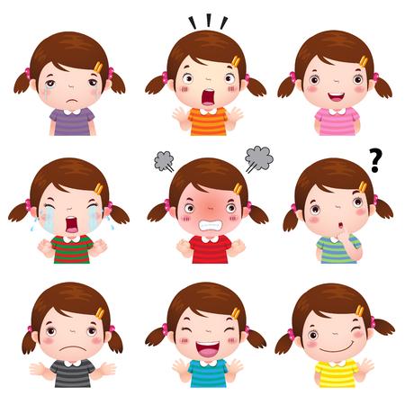 ni�os pensando: Ilustraci�n de la muchacha linda rostros con distintas emociones