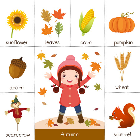 cartoon school girl: Illustration of printable flash card for autumn and little girl playing with autumn leaves