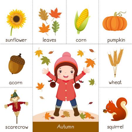 calabaza caricatura: Ilustración de la tarjeta de memoria flash imprimible para otoño y niña jugando con hojas de otoño Vectores
