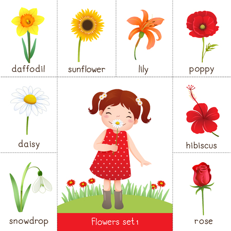 Illustration of printable flash card for flowers and little girl smelling flower