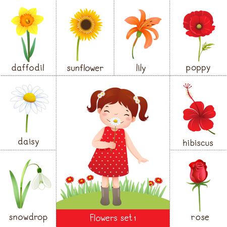 flor caricatura: Ilustración de la tarjeta de memoria flash imprimible para flores y flor niña oliendo