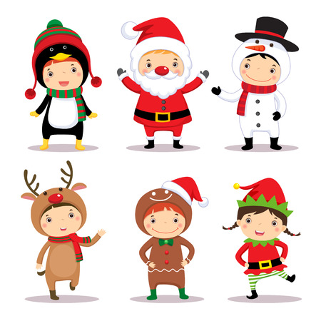 cartoon penguin: Illustration of cute kids wearing Christmas costumes