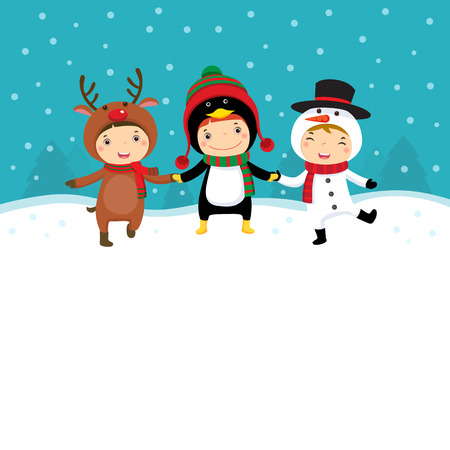 Illustration of happy kids in Christmas costumes playing with snow