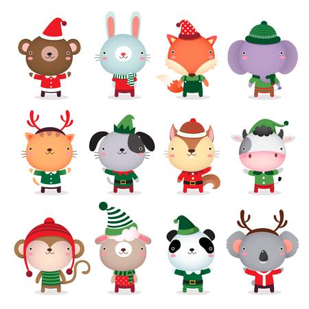 conejo: Colección de vector de animales lindos diseñar con la Navidad y trajes temáticos de invierno Vectores