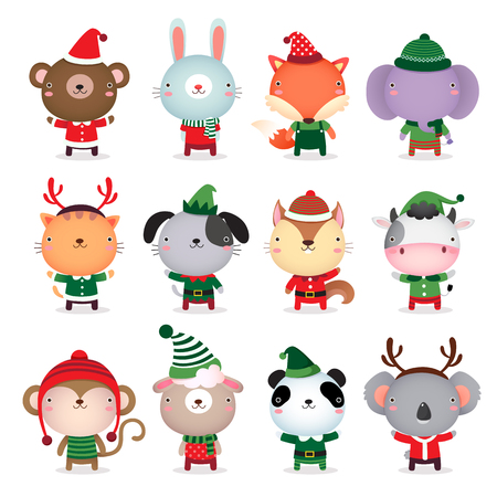 merry xmas: Vector collection of cute animals design with Christmas and winter theme costumes
