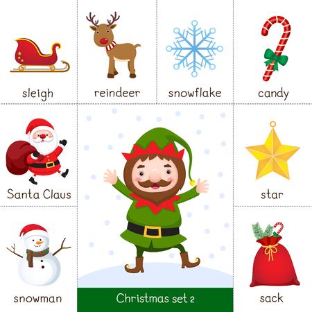 クリスマスのエルフとクリスマス セットの印刷可能なフラッシュ カードのイラスト