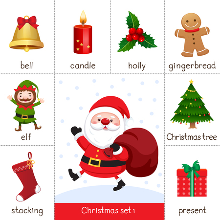 Illustration of printable flash card for Christmas set and Santa Claus
