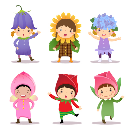 dressing up party: Illustration of cute kids wearing flowers costumes