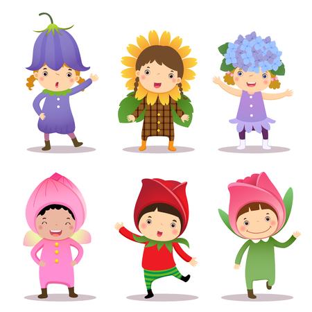 niños vistiendose: Ilustración de los niños lindos que llevan flores disfraces