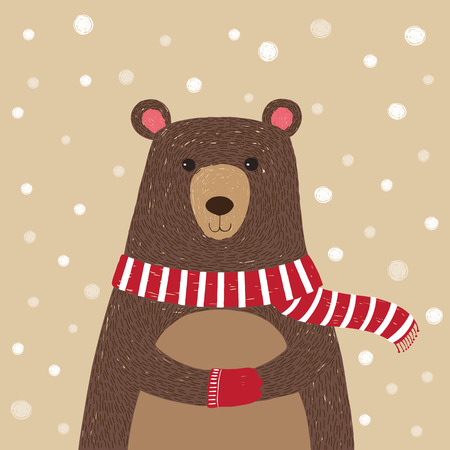 winter season: Illustration hand drawn of cute bear wearing red scarf