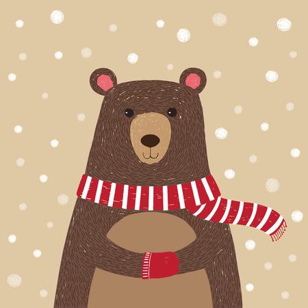 osos navideños: Ilustración dibujado a mano del oso lindo que lleva pañuelo rojo