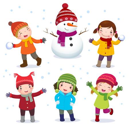 bimbi che giocano: Illustrazione in collezione di bambini con il pupazzo di neve in costume d'inverno Vettoriali