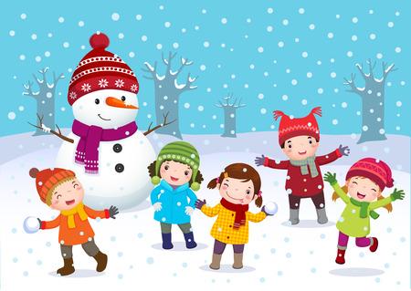 bonhomme de neige: Illustration d'enfants jouant à l'extérieur en hiver Illustration