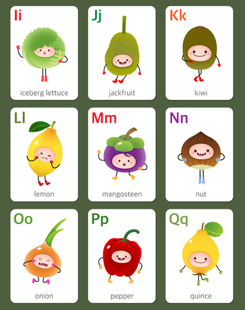 printable: Illustration of printable flashcard English alphabet from I to Q with fruits and vegetables