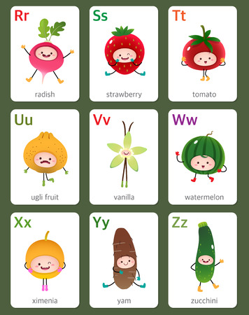 r: Illustration of printable flashcard English alphabet from R to Z with fruits and vegetables Illustration