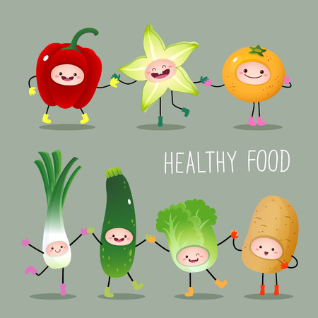 healthy kid: Illustration of collection of cartoon fruits and vegetables