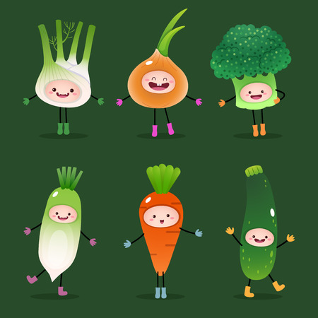 Illustration of collection of cartoon vegetables