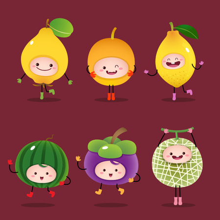 limon caricatura: Illustration of collection of cartoon fruits Vectores