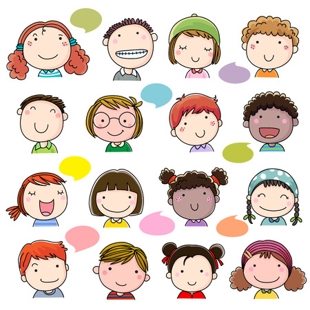 cartoon school girl: Hand drawn children faces set Illustration